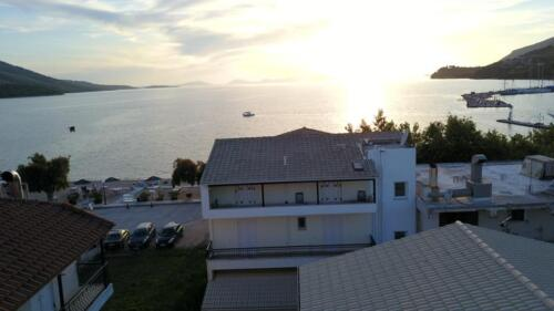 The building from above overlooking the bay of Plataria